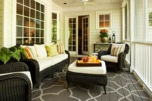 front porch with painted floor design