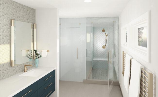 Custom Home Primary Bathroom Rendering