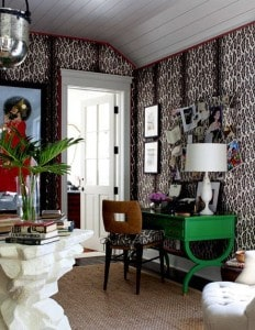 Home office with bold pattern