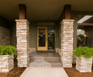 front porch with stone columns