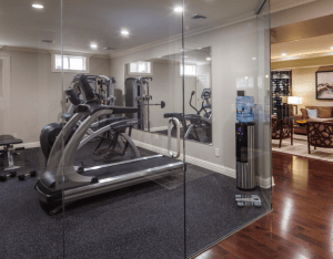 basement with home gym