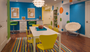 basement remodel with bright colors