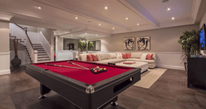 basement remodel with pool table
