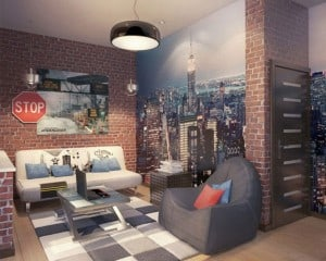 living space with brick wall