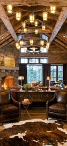 Rustic mancave with wood and fur rugs