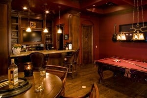 Bar room with red walls