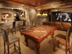 Game room home theater with bar