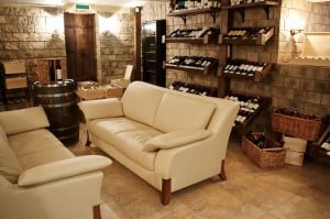 wine room with couches