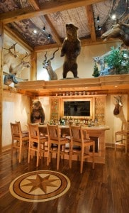 mancave with hunting theme