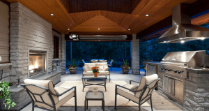 Outdoor Patio with white furniture at night