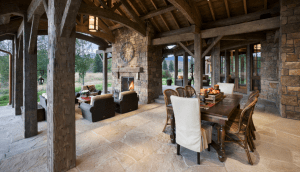 Outdoor Space with Fireplace and High Ceilings