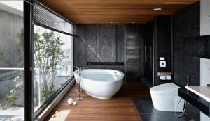 Floor to ceiling window in bathroom