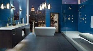 Soaking tub in Blue Bathroom