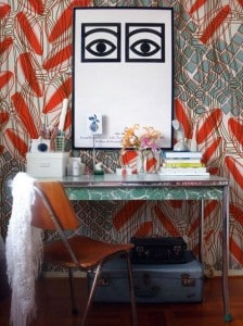 bold wall paper in home office