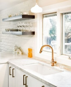 Painted Brick in White Kitchen