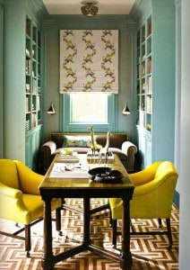 bright colored chairs in home office