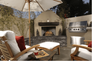 backyard space renovation idea with fireplace