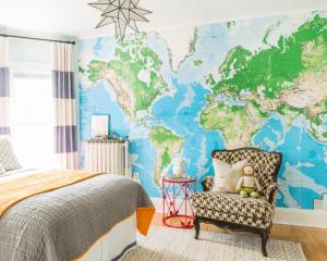 Houzz.com- Dina Holland Interiors Map Mural on the Wall