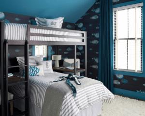 Houzz.com- OPaL LLC- Rehoboth Beach- Bunk Beds with FIsh Wall Paper