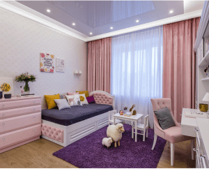 Houzz.com- Pink Kids Room with Purple Accents