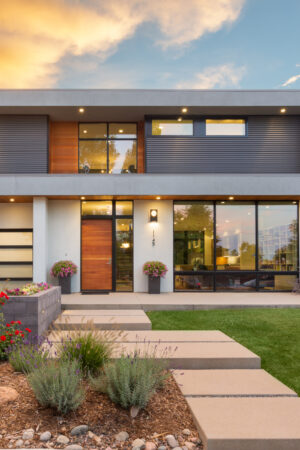 Melton Design uild - Custom Home Exterior Photo at Sunset