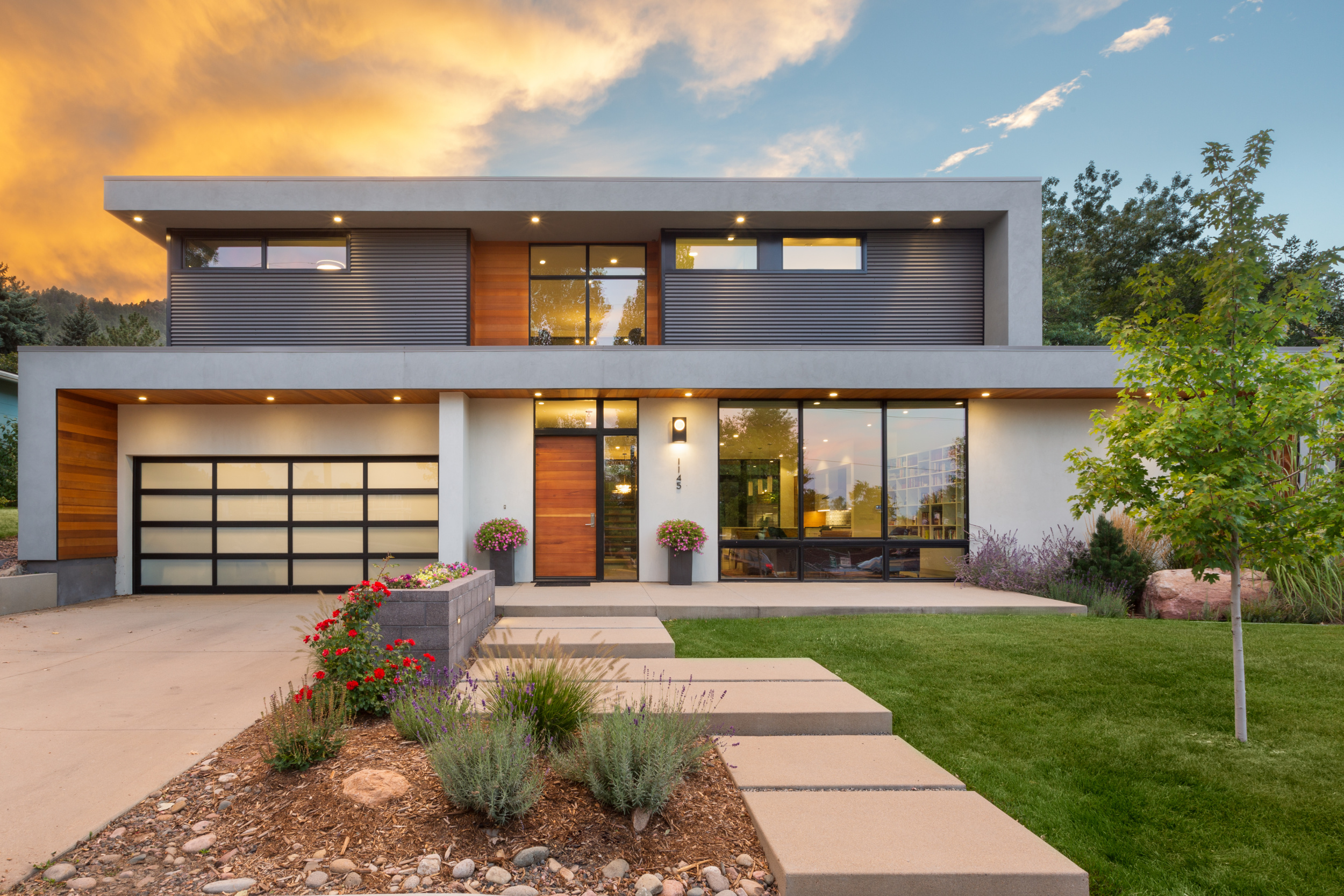 Melton Design uild - Custom Home Exterior Photo at Sunset