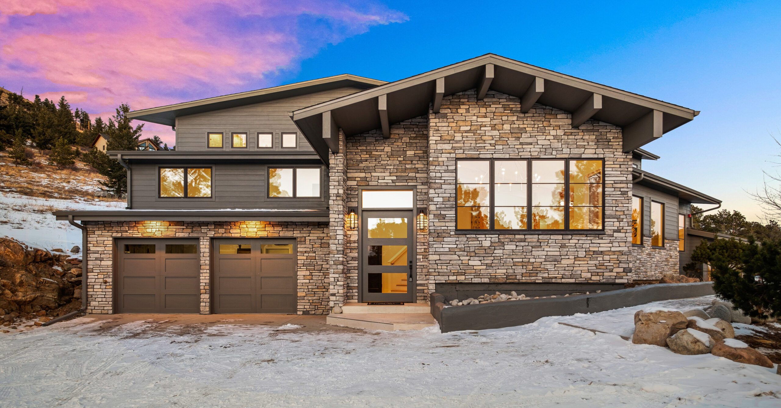 Custom Home in the Mountains at Sunset - Exterior - Melton Design build