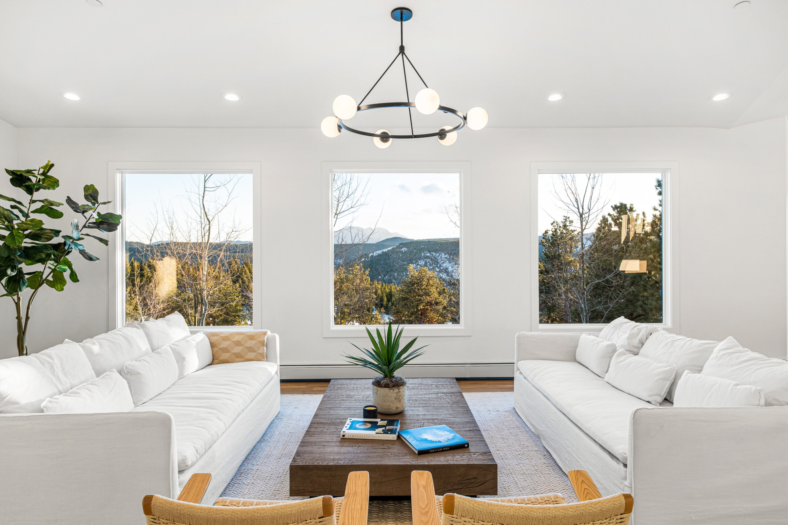 Custom Mountain Home - Living Room View