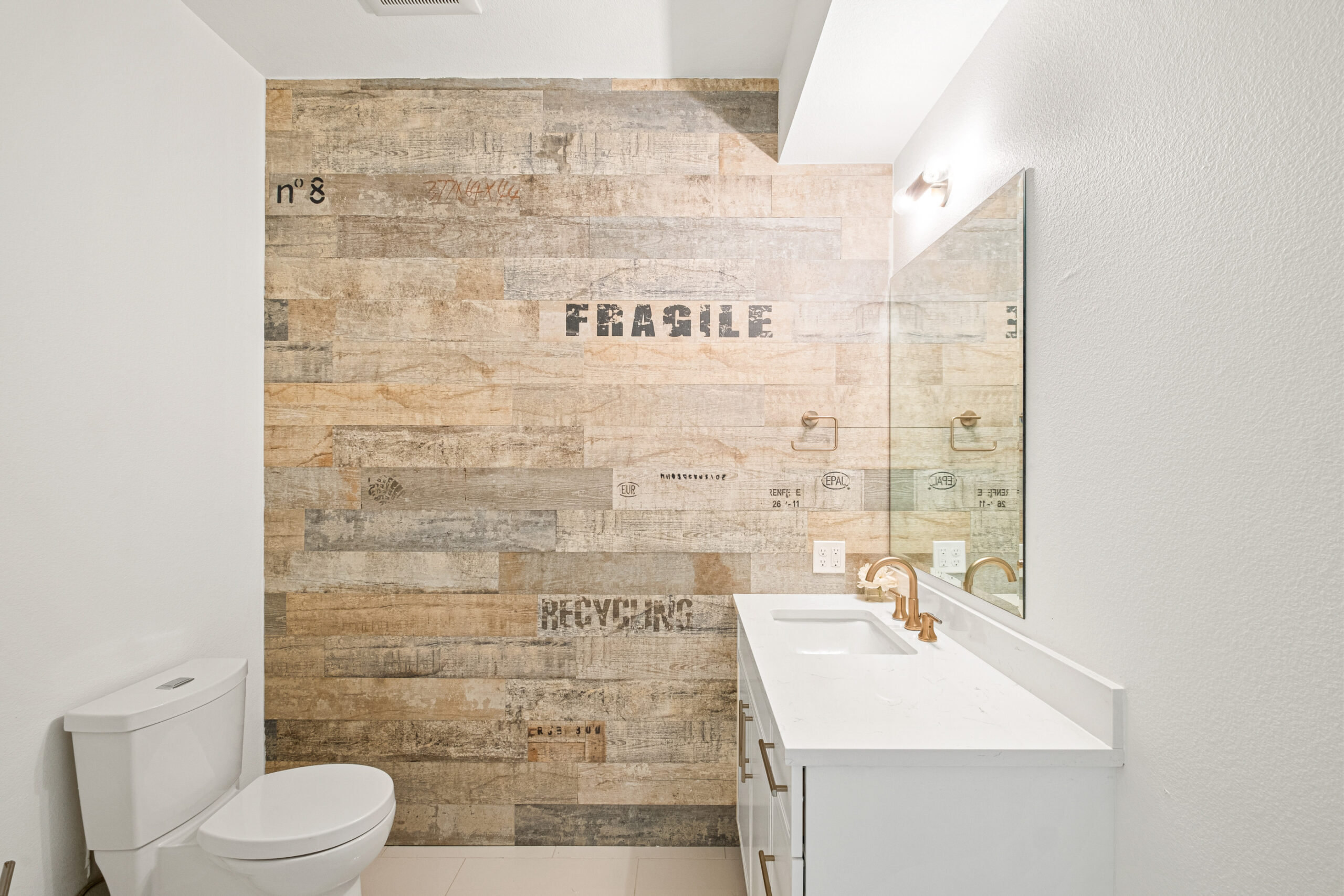 Custom Mountain Home - Half Bath with Rustic Accent Wall
