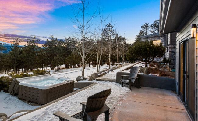Custom Mountain Home - Exterior Hot Tub View