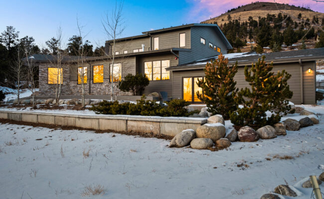 Custom Mountain Home - Exterior Side View at Dusk